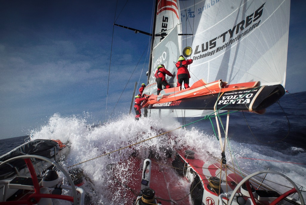 March 28, 2015. Leg 5 onboard Dongfeng Race Team. Batten car toggle broken. We had to put the main down. Sam Greenfield/Dongfeng Race Team/Volvo Ocean Race