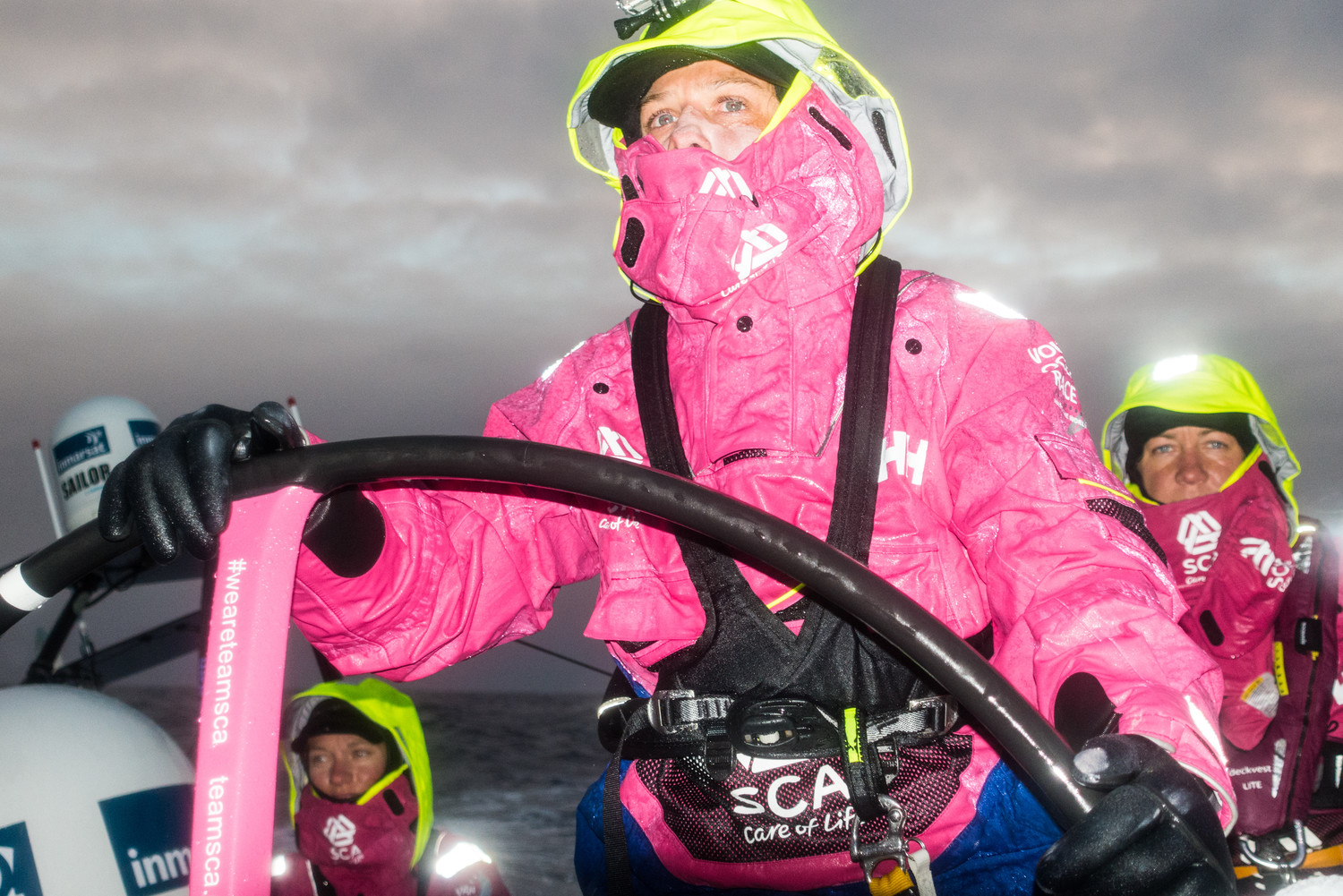 March 28, 2015. Leg 5 to Itajai onboard Team SCA. Day 10. Liz Wardley at the helm. Anna-Lena Elled / Team SCA / Volvo Ocean Race