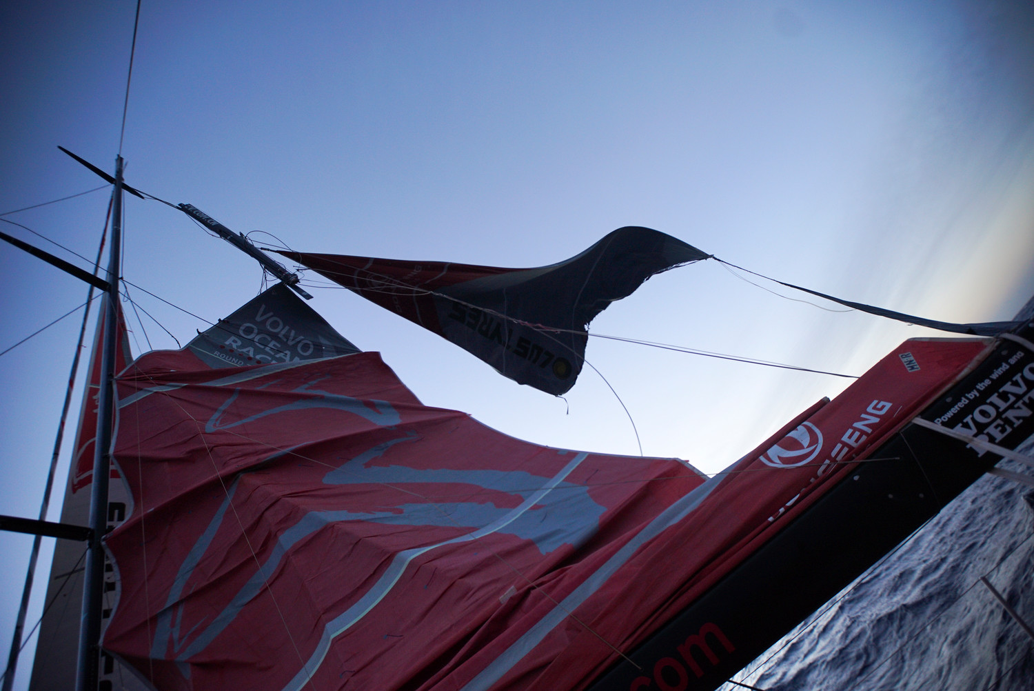 March 30, 2015. Leg 5 to Itajai onboard Dongfeng Race Team. Day 12. Dongfeng Race Team's mast broke above the third spreader - the top section of the mast - 240 nautical miles west of Cape Horn at 0315 UTC on Monday, in the final hours of the night. Fortunately nobody has been injured and there is no immediate danger to the crew.  Yann Riou / Dongfeng Race Team / Volvo Ocean Race