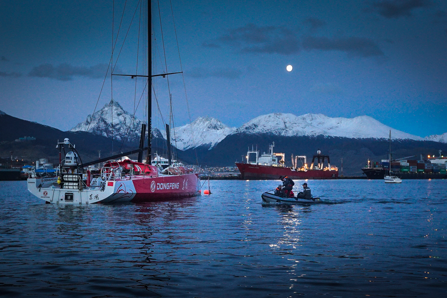April 1, 2015. Leg 5 to Itajai onboard Dongfeng Race Team. Day 14. The final evening in Ushuaia before the motor-sail journey to Itajai for a new mast. Yann Riou / Dongfeng Race Team / Volvo Ocean Race