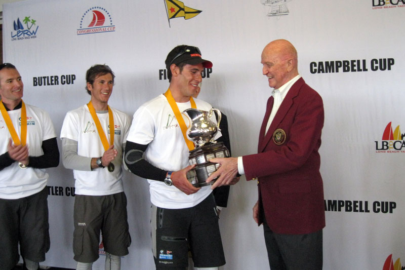 2011 Trophy Presentation - with Simone Ferrarese and Bill Ficker. Ferrarese sailed his way into Congressional Cup in 2011- and went on to win it in 2013 © Courtesy of Jo Murray / Long Beach Yacht Club