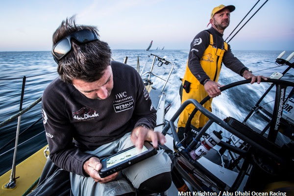 "June 16, 2015. Leg 9 to Gothenburg onboard Abu Dhabi Ocean Racing. Day 0.  Simon ""SiFi"" Fisher navigates Azzam out of Lorient and towards the Hague."