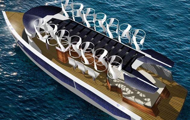 The Eco-Tender features solar panels and wind turbines that produce enough energy to power the vessel